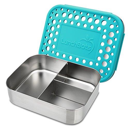 LunchBots Trio 2 Edelstahl Nahrungsmittelbehälter - Drei Abschnitt Design, perfekt für gesunde Snacks, beilagen oder Finger Foods - Umweltfreundlich, Spülmaschinenfest und BPA frei - Aqua Gepunktet