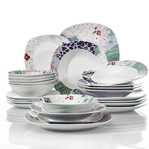 VEWEET Olina Juegos de Vajillas 24 Piezas de Porcelana con 6 Cuencos de Cereales, 6 Platos, 6 Platos de Postre y 6 Platos Hondos para 6 Personas