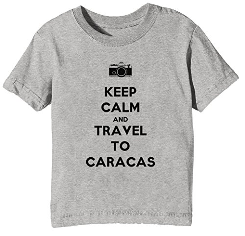 Keep Calm and Travel to Caracas Kinder Unisex Jungen Mädchen T-Shirt Rundhals Grau Kurzarm Größe XL Kids Boys Girls Grey X-Large Size XL -
