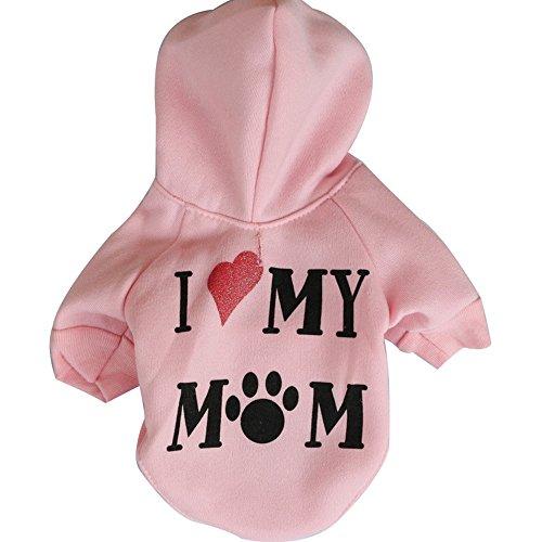 Kostüm Love Hunde Puppy - zoonpark® Hund Kleidung, I Love my Mom Fleece Pet Teddy Hoodie mit Kapuze Kleidung Warm Mantel Pets Hunde Puppy Hoodie Winter T-Shirt Kleidung Kostüm Bekleidung