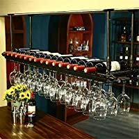 AMOSES Creative Hanging Wine Glass Holder Upside Down Goblet Wine Rack Bar Hanging Cup Holde - 120x30cm, Can Hang 30 Goblets & 11 Bottles of Red Wine-Black