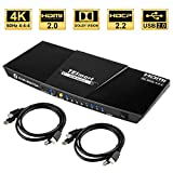 TESmart 4x1 Interruttore KVM HDMI 4K 3840x2160@60Hz 4:4:4 con 2 Cavi KVM 5ft/1.5m Supporta dispositivi USB 2.0 Dispositivi USB 2.0 Controlla Fino a 4 Computer/Servers/DVR (Nero)