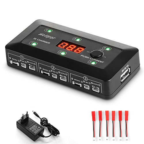 HELIFAR 1S LiPo Cargador de batería LiPo / LiHV Cargador de Equilibrio con Adaptador de Corriente AC, Cable de extensión JST