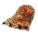 SAMs Tiger Kralle Tier Hausschuhe Pantoffel Puschen Schlappen Kuscheltier Plüsch Unisex Orange 36-45, TH-KT, Größe 40/41