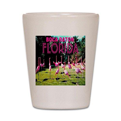 CafePress-Boca Raton Flock of Flamingos-Schnapsglas, Einzigartige und Funny Shot Glas weiß