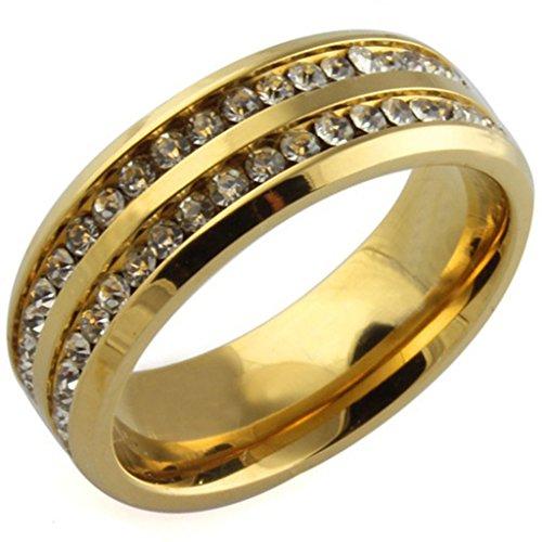 Unisex Acciaio inox Double Channel CZ polacco oro Wedding Bands Dimensione 20 di (Oro Giallo Mens Wedding Band)