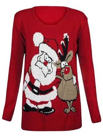 (M) WOMENS XMAS SANTA RUDOLPH PALS KNITTED LADIES NOVELTY CHRISTMAS JUMPER SWEATER | RED - Santa rudolf pals print jumper | ML 12/14