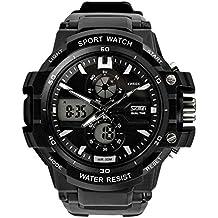 Panegy Reloj Pulsera de Cuarzo Multifunción Cronómetro Alarma Calendario Deportivo LED Digital Analógico Wristwatch para Hombres Chicos - Plata