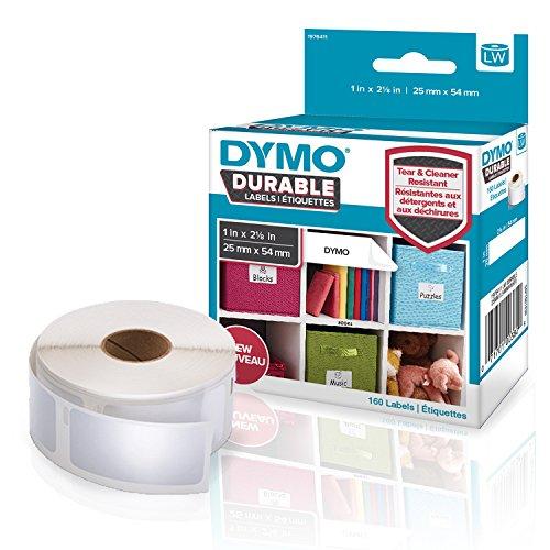 Dymo 1976411 LW Hochleistungs-Etiketten (für LabelWriter-Etikettendrucker, weißes Polyester, 25mm x 54 mm) Rolle mit 160 Etiketten (Weiß-polyester-mischung)