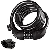 """Bike Cable Lock, 6-Feet Bike Lock Cable Coiled Resettable Combination Cable Bike Locks with Mounting Bracket, 6 Feet x 1/2 """""""