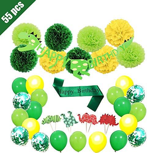 rier Geburtstag Party Dekoration, 55 Stück Dinosaurier Geburtstag Dekoration für Jungen, Dinosaurier Ballons, Alles Gute zum Geburtstag Banner, Dinosaurier Cupcake Topper ()