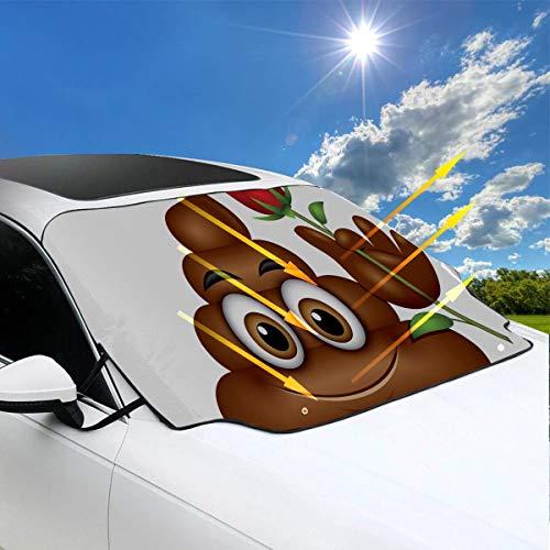 Sonnenschutz Autofenster Poo Emoticon Holding Red Rose Emoji Poop Gesicht Funny Car Sonnenschutz 57.9x46.5 Zoll147cmx118cm für die meisten Fahrzeuge durch Schützen Sie die Windschutzscheibe und Schei (Poop Gesicht)