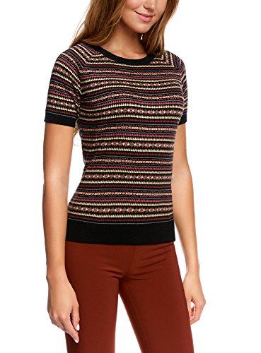 oodji Ultra Damen Pullover mit Feinem Jacquardmuster und Kontrastbesatz, Mehrfarbig, DE 40 / EU 42 / L (Pullover Baumwolle Feine)