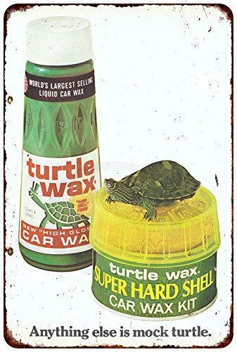 PotteLove Schildkrötenwachs flüssiges Autowachs Vintage Reproduktion Metallschild 8 x 12 cm
