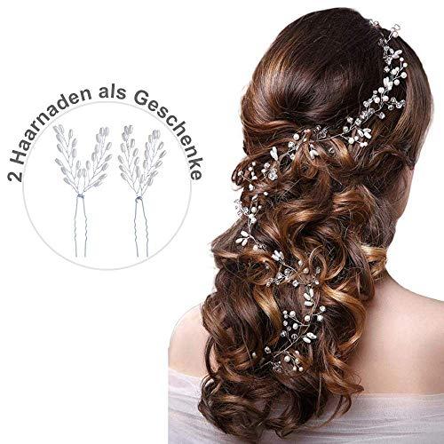 Strassbesatz Haarband hochzeit und Stirnband mit Kristall(100 cm/50cm), Fashion Schön Style Kopfschmuck Haarbänder Lange Glänzende Haarranke für Braut Frauen und Mädchen (Silber/50cm)