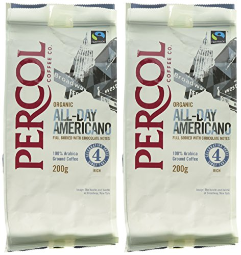 Percol Organic FT All-Day Americano Ground Coffee 200 g (Pack of 2)