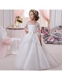 Melodycp Vestido de niña de Flores Encaje Diamante Cinturón de Lazo Pequeño Vestido de Princesa de
