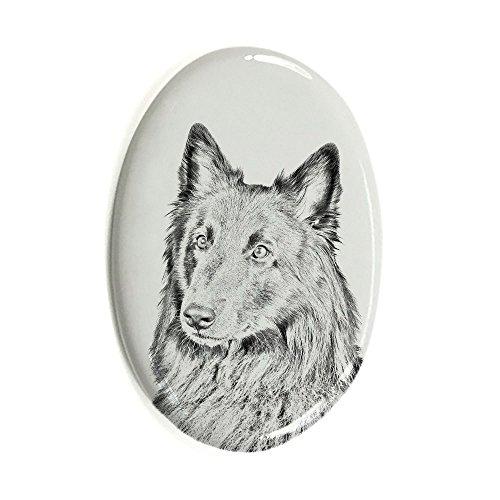 Belgischer Schäferhund , Oval Grabstein aus Keramikfliesen mit einem Bild eines Hundes