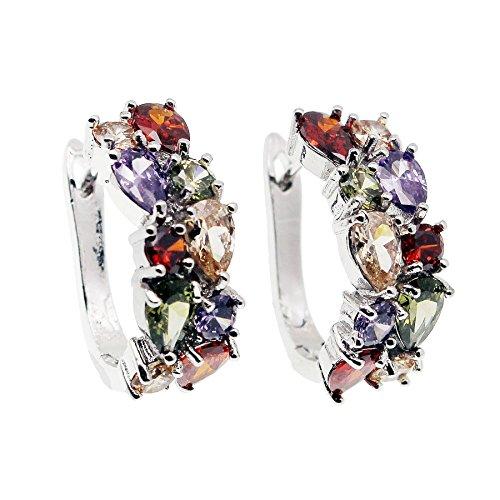 JINTOP Set di gioielli, Ametista Granato Morganite Peridot Multi Gemstones S925 Regali per ragazze Donne