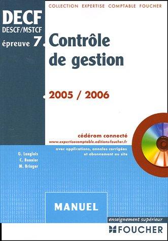 Contrôle de gestion DECF épreuve n° 7 : Manuel (1Cédérom)