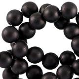 Sadingo Acrylperlen Matt Schwarz, Fädelperlen, 100 Stück, 8 mm, Perlen zum DIY Schmuck, Armband basteln, Bastelperlen