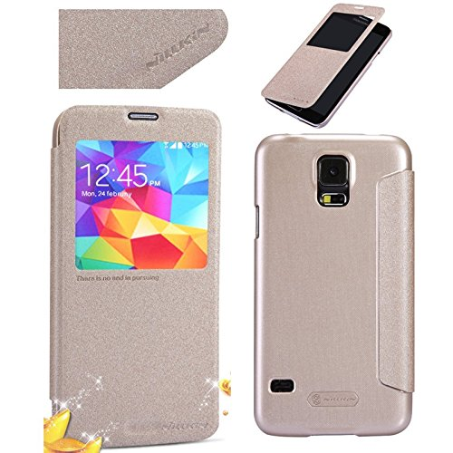 DMG Nillkin Sparkle Leather Flip Stand Back Case Cover For Samsung Galaxy S5 i9600 (Gold)  available at amazon for Rs.499