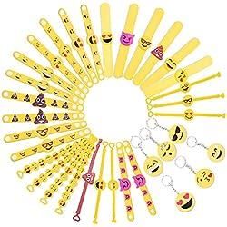 Tomkity 28 Emoji Pulsera de Goma Banda de Silicona con 6 llaves de Emoji para Los Niños Fiesta Favores Partido Cumpleaños, Partido Suministra Pequeños Juguetes