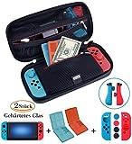 ANGPO für Nintendo Switch Tasche Schutz Set,Wasserfeste Hartschalentasche /Joy Con Silikon Schutzhülle/9H Glas Display