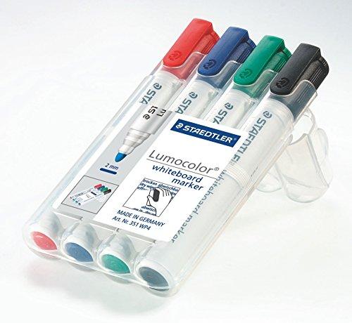 Staedtler Lumocolor 351 B WP4 Whiteboard-Marker, Keilspitze ca. 2 oder 5 mm Linienbreite, Set mit 4 Farben, hohe Qualität, trocken und rückstandsfrei abwischbar von Whiteboards