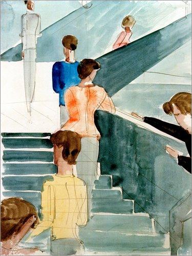 Poster 60 x 80 cm: Bauhaustreppe von Oskar Schlemmer/akg-Images - Hochwertiger Kunstdruck,...