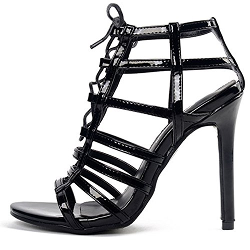 Azbro Women's Peep Toe Lace-up Gladiator Stiletto Sandals Black