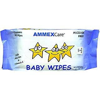 Ammex BWCR - AMMEXCare - Alcohol Free, Pre-moistened with Aloe Vera and Vitamin E, Baby Wipe Refills (Case of 960)