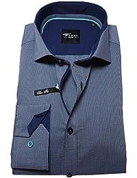 Venti Edition Slim Fit Langarmhemd in dunkelblau Minikaro gemustert