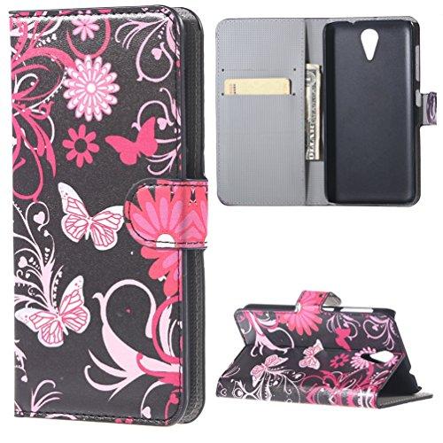 HTC Desire 620/620G Tasche - [Flip Wallet Case] Ledertasche Schutzhülle für HTC Desire 620 620G Hülle Tasche Leder Handytasche Handyhülle Etui Schale mit Standfunktion Kredit Kartenfächer (Rosa Schmetterling)