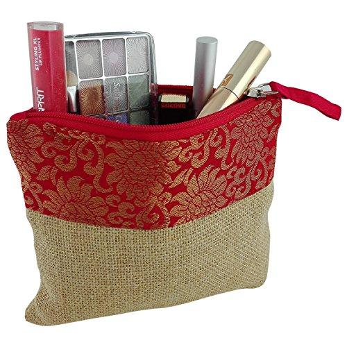 Kosmetiktasche innen gepolstert Brokat Motiv rot mit Jute Goldfäden mit viel Platz 17 x 15 cm, elegante Kunstseide als Schminktasche Beautytasche mit Reißverschluss (Tasche Innen Reißverschluss Mit)
