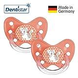 Dentistar® Silikon Schnuller 2er Set inkl. 2 Schutzkappen - Nuckel Größe 3, ab 14 Monate, zahnfreundlich und kiefergerecht | Katze