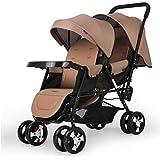 Poussettes Twin Baby Trend Double Pushchair à bébé haute classe pliable et multifonctionnelle Jogger Sit ou Stand Grand cadeau pour filles et garçon