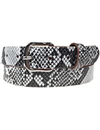 New Mens Womens Snakeskin Pattern Printed 30mm Made In England 1.25 inch 100% Real Leather Belt