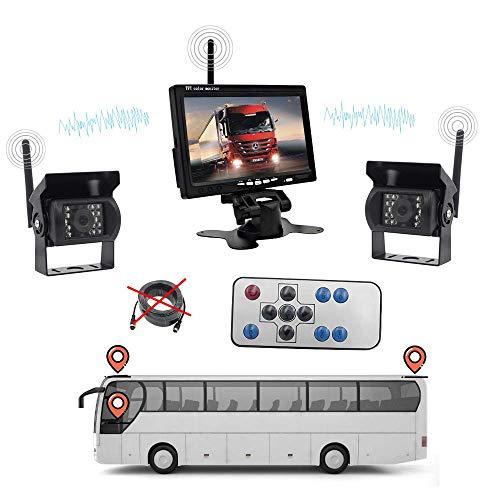 Z-DCYX Wireless Backup Kamera-Kit,Drahtlose Wasserdichte Nachtsicht-CCD-Front- und für Bus-Personenwagen-LKW-schweres Fahrzeug 7