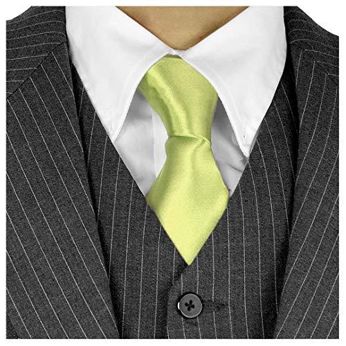 Moda Di Raza Herren Krawatte, lang, 7,6 cm, Satin, Seiden-Finish, einfarbig - Grün - Krawatte ohne Box Gold Satin Cummerbund