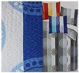 KH-Haushaltshandel Seersucker Bettwäsche 155 x 220 +80x80cm Übergröße, Blau Weiß, Kreise Streifen, Bügelfrei, Microfaser