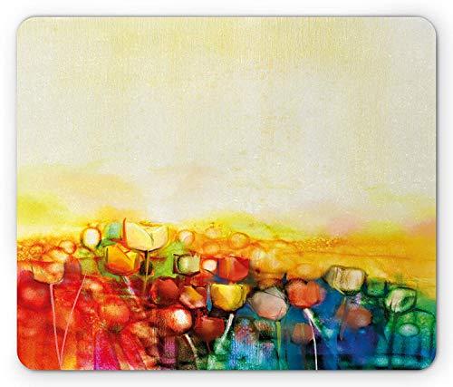 Blumen Mauspad, Tulpen Mutter Erde Universum niederländischen osmanischen Erbes lebendige handgezeichnete Malerei Kunst, Standardgröße Rechteck rutschfeste Gummi Mousepad, Multicolor -