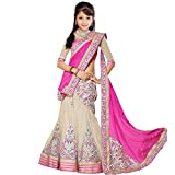 #9: Purva Art Girls Semi-Stitched New Pink Designer Net Lehenga Choli (Kids Designer _1918 Pink Lehenga_Pink off-white_8-12 Years)