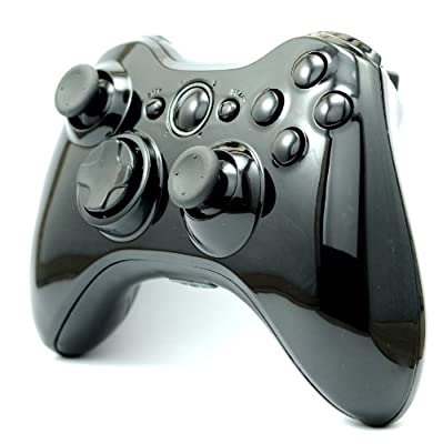 Glossy Black Custom Wireless Controller Full Shell Case for XBox 360 Control Blast