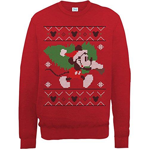 Brands In Limited Damen Mickey Mouse Christmas Tree Sweatshirt, Rot, XXL (Disney Sweatshirt Damen In)