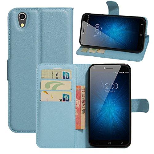 HualuBro UMIDIGI London Hülle, [All Aro& Schutz] Premium PU Leder Leather Wallet Handy Tasche Schutzhülle Case Flip Cover mit Karten Slot für UMIDIGI London 5.0 Inch 3G Smartphone (Blau)