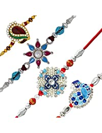 Mahi with Crystal Rhodium & Gold Plated Blue, Pink & Red Floral Feather Combo of Four Rakhi (Bracelet) CO1104529M