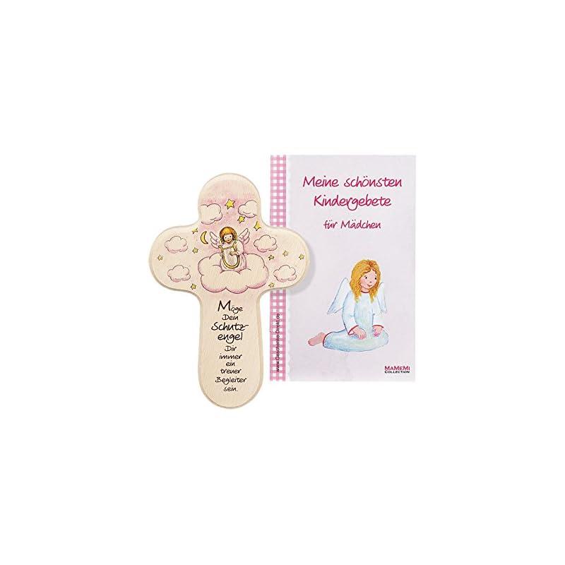 MaMeMi Taufkreuz Kinderkreuz für Mädchen in rosa Holz Schutzengel mit Harfe
