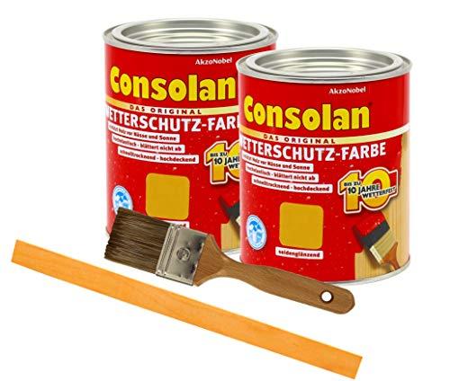 Consolan Wetterschutzfarbe deckend / 2x 0,75L gelb 203 / Holzschutzfarbe Holzfarbe bis zu 10 Jahre wetterbeständig für Holz und Zink Außen inkl. Pinsel & Rührstab