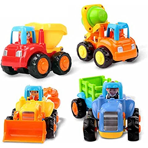 Early Education 1 Year Olds Baby Toy Push and Go Friction Powered Car Toys Sets of 4 Tractor, Bulldozer, Mixer Truck and Dumper for Children & Kids Boys and Girls by